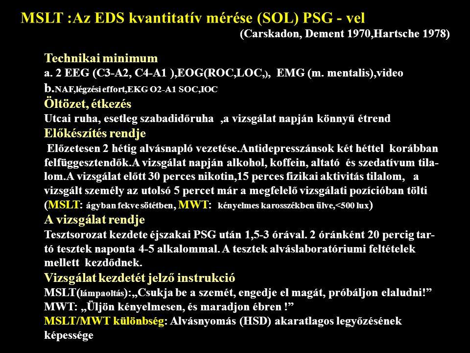 Technikai minimum a.2 EEG (C3-A2, C4-A1 ),EOG(ROC,LOC, ), EMG (m.