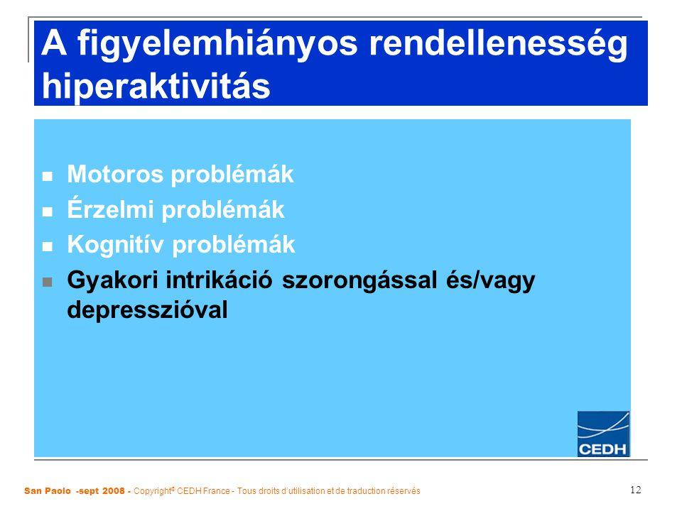 12 A figyelemhiányos rendellenesség hiperaktivitás Motoros problémák Érzelmi problémák Kognitív problémák Gyakori intrikáció szorongással és/vagy depr