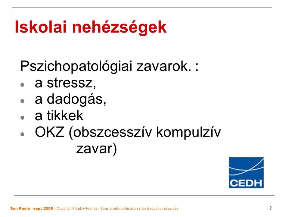 2 Iskolai nehézségek Pszichopatológiai zavarok. : a stressz, a dadogás, a tikkek OKZ (obszcesszív kompulzív zavar) San Paolo -sept 2008 - Copyright ®
