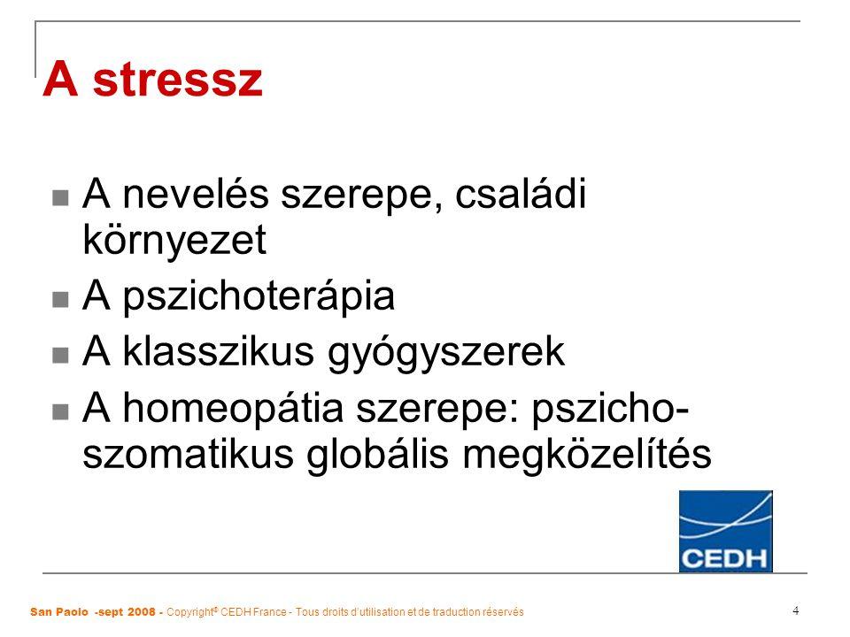 4 A stressz A nevelés szerepe, családi környezet A pszichoterápia A klasszikus gyógyszerek A homeopátia szerepe: pszicho- szomatikus globális megközel