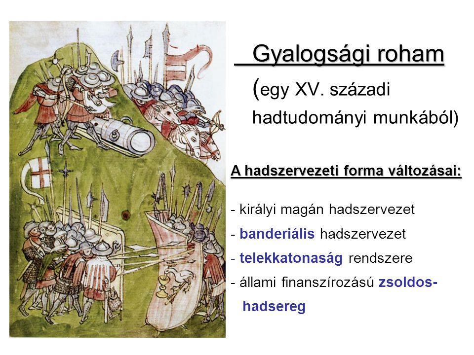 Gyalogsági roham ( egy XV. századi hadtudományi munkából) A hadszervezeti forma változásai: - királyi magán hadszervezet - banderiális hadszervezet -