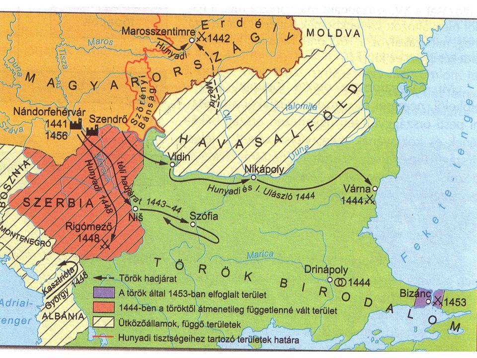 A háború menete 1444 júniusáig Gyors és sikeres előrenyomulás a Balkán- hegységig, ennek oka, hogy a török sereg kettéosztott volt: a fele a Balkán-félszigeten, a másik fele a mai Törökország területén állomásozott kedvező békeajánlatotA török kedvező békeajánlatot tett a támadóknak: átadja a Balkán északi részét 14441444.