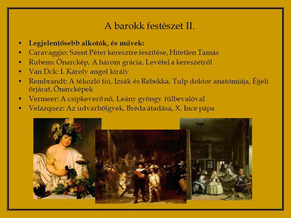 A barokk szobrászat legfőbb célja lenyűgözni, meghatni, megnyerni a szemlélőt Jellemzői: színpadiasság, illúziókeltés, látványos fény-árnyék hatások, a néző tudatos manipulálása Általában megfigyelhető a barokkban a különböző művészeti ágak ötvözése Leghíresebb művek: Nicola Salvi: Trevi kút Lorenzo Bernini: Dávid, Szent Teréz Eksztázisa, a Szent Péter-bazilika baldachinja A barokk szobrászat