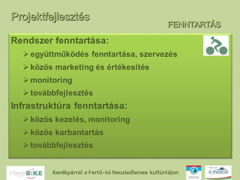 Kerékpárral a Fertő–tó Neusiedlersee kultúrtájon Rendszer fenntartása:  együttműködés fenntartása, szervezés  közös marketing és értékesítés  monitoring  továbbfejlesztés Infrastruktúra fenntartása:  közös kezelés, monitoring  közös karbantartás  továbbfejlesztés Rendszer fenntartása:  együttműködés fenntartása, szervezés  közös marketing és értékesítés  monitoring  továbbfejlesztés Infrastruktúra fenntartása:  közös kezelés, monitoring  közös karbantartás  továbbfejlesztés