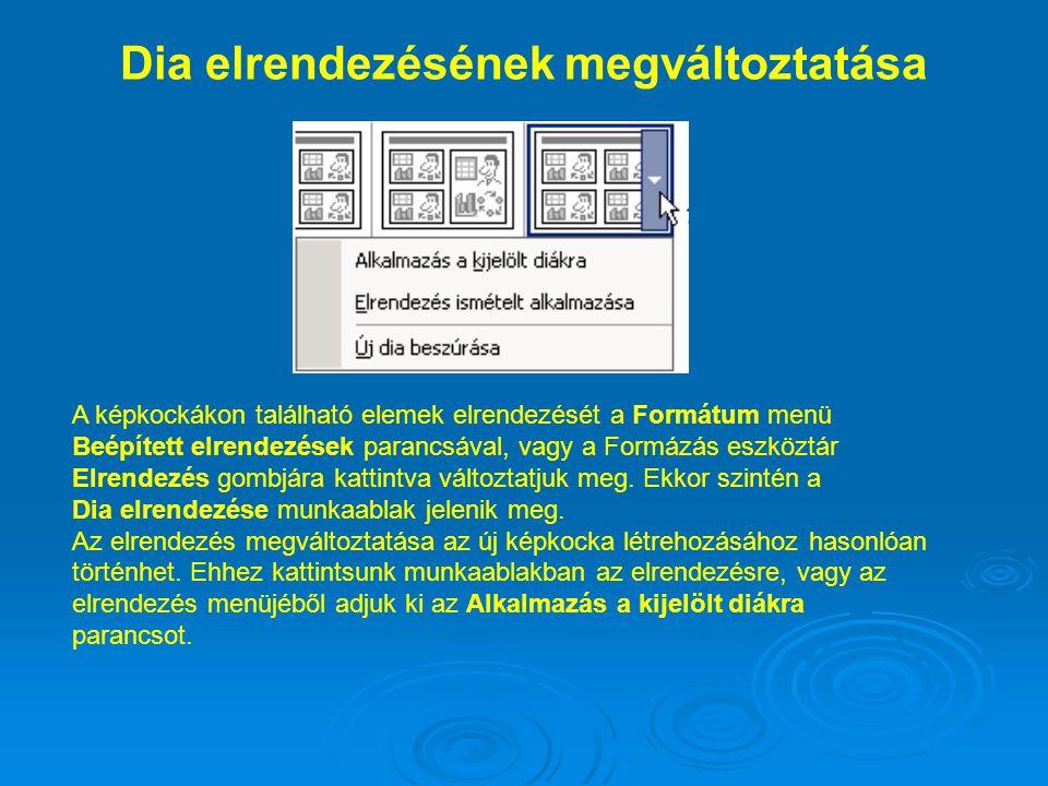 Dia elrendezésének megváltoztatása A képkockákon található elemek elrendezését a Formátum menü Beépített elrendezések parancsával, vagy a Formázás esz
