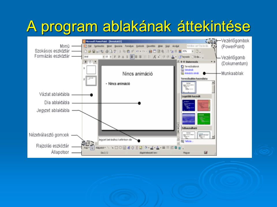 Diatípusok Üres bemutató készítése esetén előre elkészített diatípusok közül választhatunk, ezek tájékoztató szövegeket tartalmaznak.