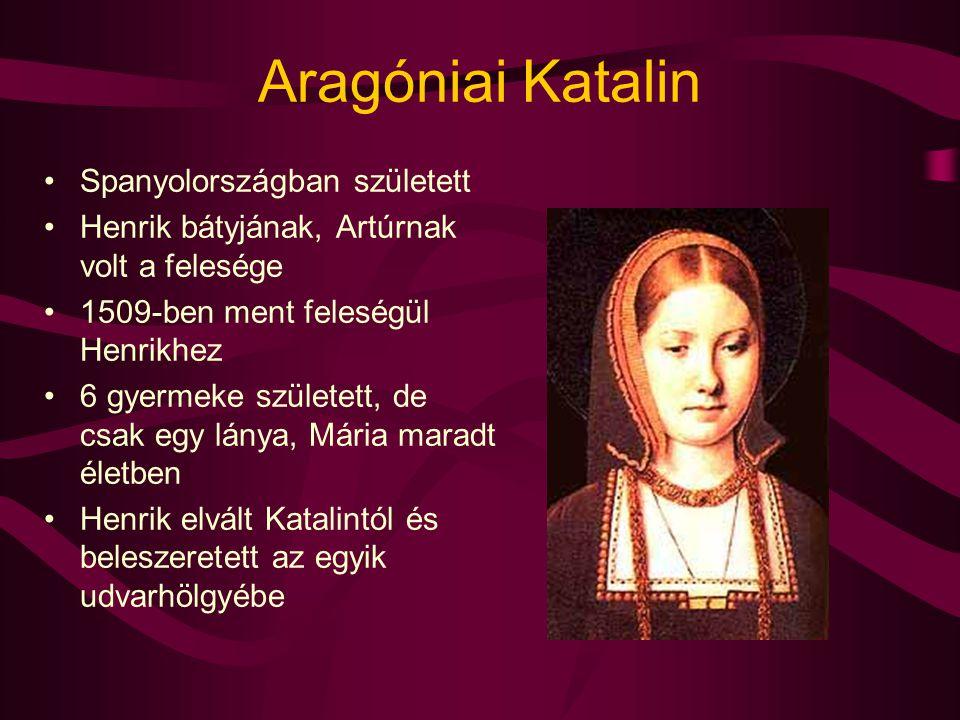Aragóniai Katalin Spanyolországban született Henrik bátyjának, Artúrnak volt a felesége 1509-ben ment feleségül Henrikhez 6 gyermeke született, de csa