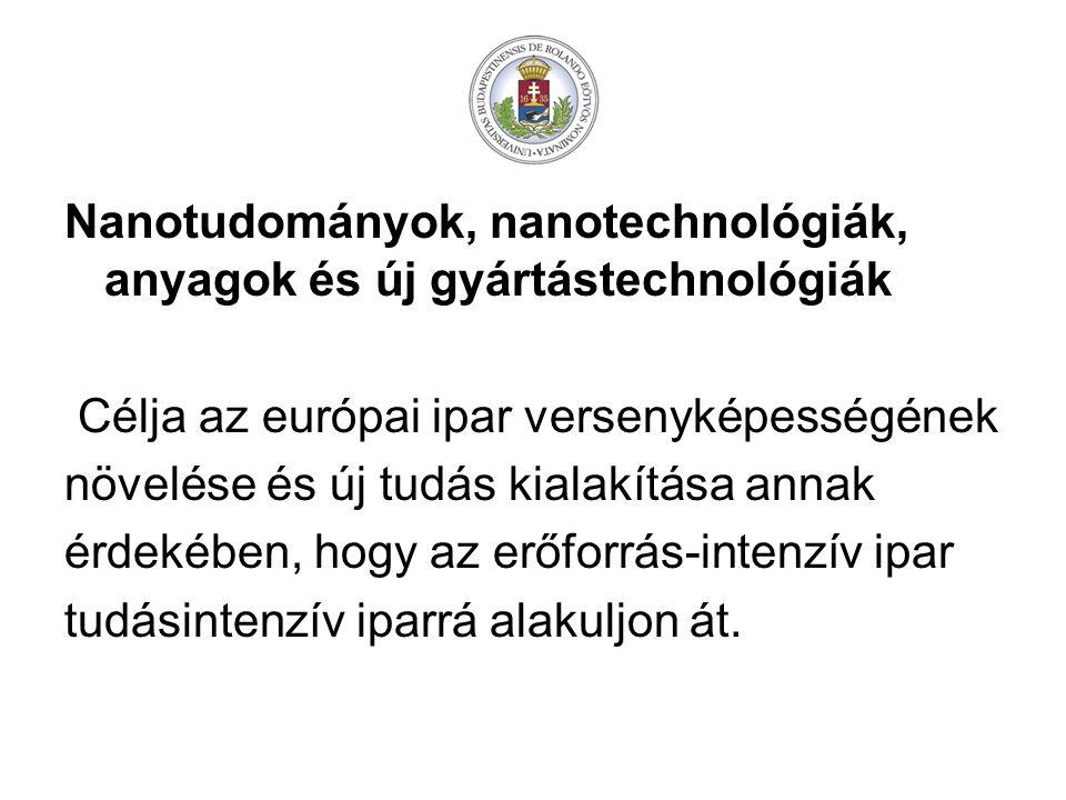 Nanotudományok, nanotechnológiák, anyagok és új gyártástechnológiák Célja az európai ipar versenyképességének növelése és új tudás kialakítása annak érdekében, hogy az erőforrás-intenzív ipar tudásintenzív iparrá alakuljon át.