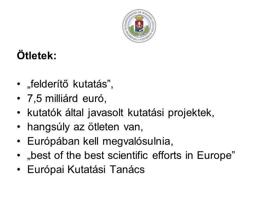 """Ötletek: """"felderítő kutatás , 7,5 milliárd euró, kutatók által javasolt kutatási projektek, hangsúly az ötleten van, Európában kell megvalósulnia, """"best of the best scientific efforts in Europe Európai Kutatási Tanács"""