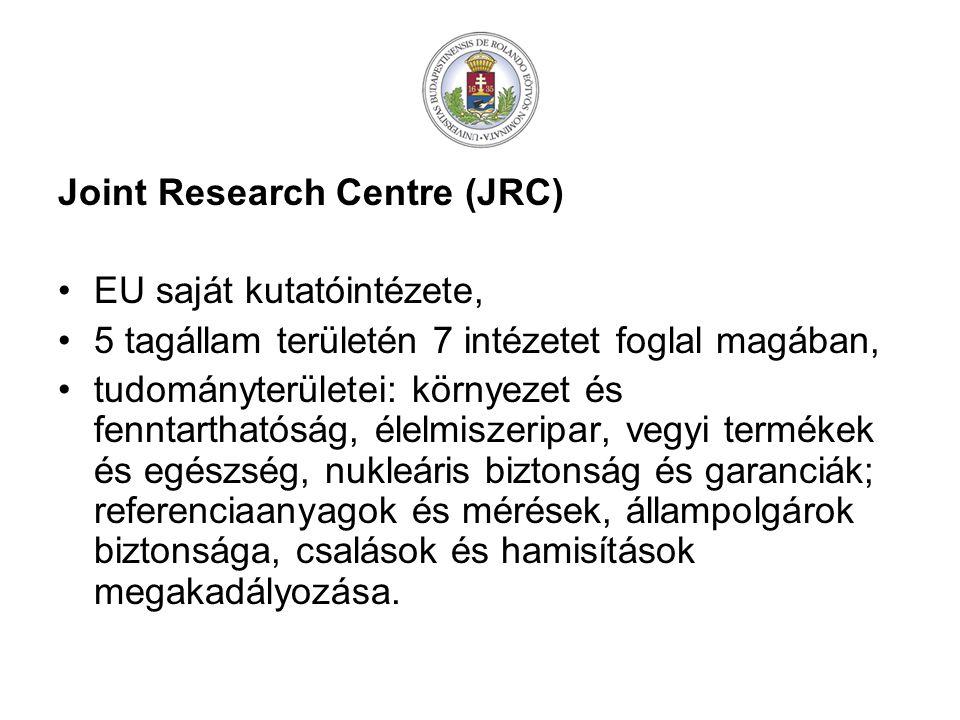 Joint Research Centre (JRC) EU saját kutatóintézete, 5 tagállam területén 7 intézetet foglal magában, tudományterületei: környezet és fenntarthatóság, élelmiszeripar, vegyi termékek és egészség, nukleáris biztonság és garanciák; referenciaanyagok és mérések, állampolgárok biztonsága, csalások és hamisítások megakadályozása.