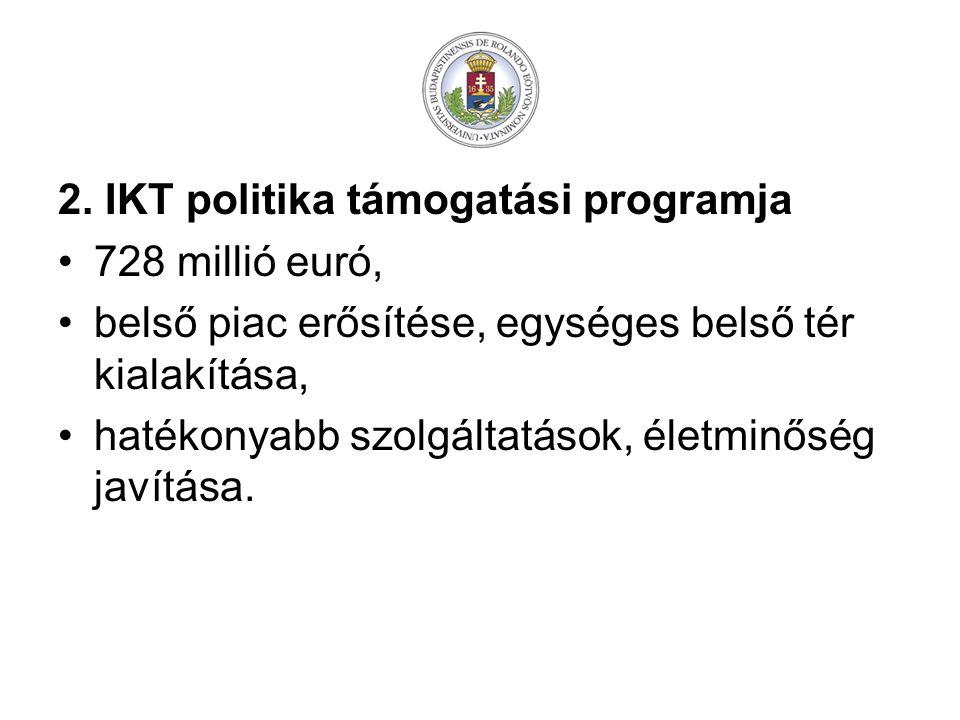 2. IKT politika támogatási programja 728 millió euró, belső piac erősítése, egységes belső tér kialakítása, hatékonyabb szolgáltatások, életminőség ja