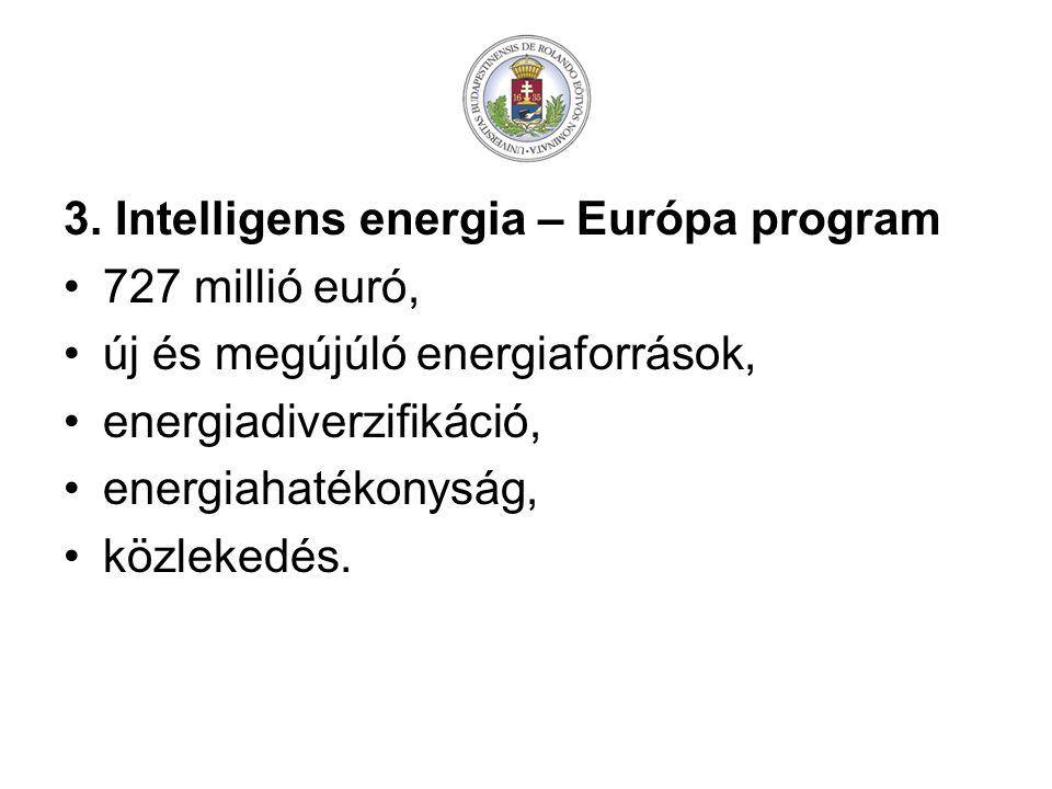 3. Intelligens energia – Európa program 727 millió euró, új és megújúló energiaforrások, energiadiverzifikáció, energiahatékonyság, közlekedés.