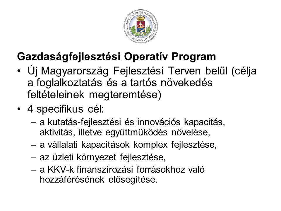Gazdaságfejlesztési Operatív Program Új Magyarország Fejlesztési Terven belül (célja a foglalkoztatás és a tartós növekedés feltételeinek megteremtése) 4 specifikus cél: –a kutatás-fejlesztési és innovációs kapacitás, aktivitás, illetve együttműködés növelése, –a vállalati kapacitások komplex fejlesztése, –az üzleti környezet fejlesztése, –a KKV-k finanszírozási forrásokhoz való hozzáférésének elősegítése.