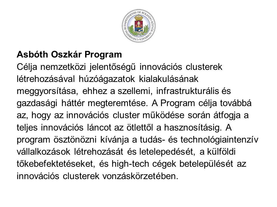 Asbóth Oszkár Program Célja nemzetközi jelentőségű innovációs clusterek létrehozásával húzóágazatok kialakulásának meggyorsítása, ehhez a szellemi, infrastrukturális és gazdasági háttér megteremtése.