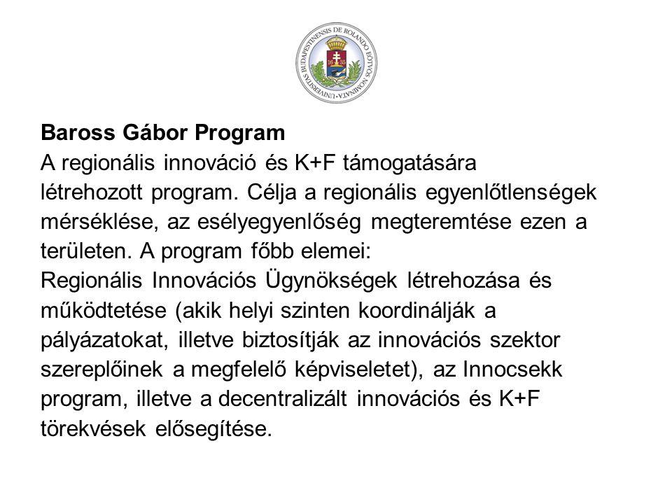 Baross Gábor Program A regionális innováció és K+F támogatására létrehozott program.