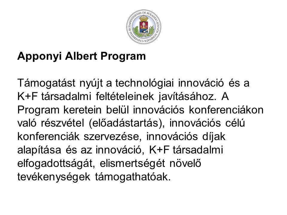 Apponyi Albert Program Támogatást nyújt a technológiai innováció és a K+F társadalmi feltételeinek javításához.