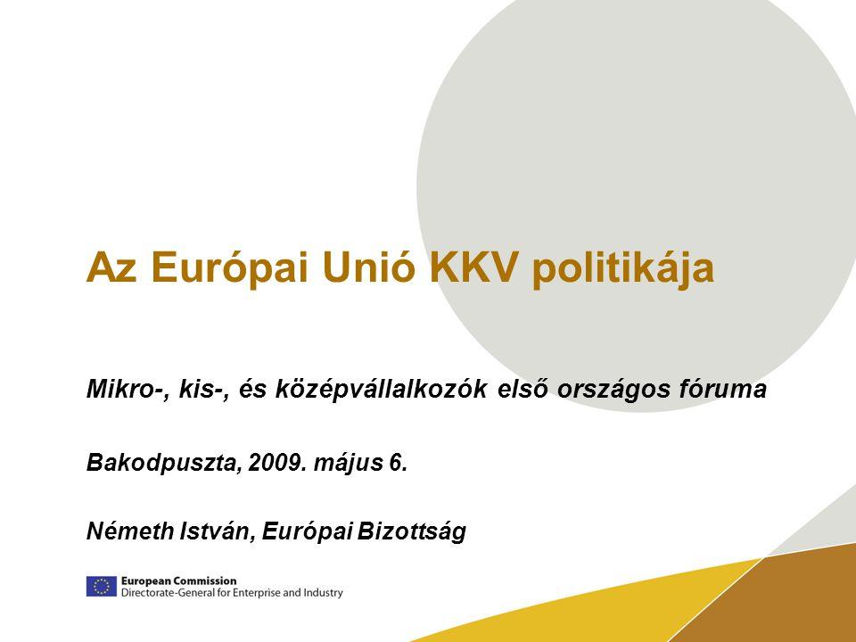 Az Európai Unió KKV politikája Mikro-, kis-, és középvállalkozók első országos fóruma Bakodpuszta, 2009.