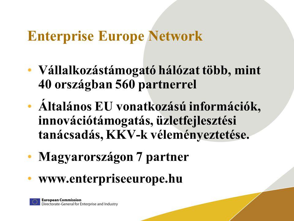 Enterprise Europe Network Vállalkozástámogató hálózat több, mint 40 országban 560 partnerrel Általános EU vonatkozású információk, innovációtámogatás, üzletfejlesztési tanácsadás, KKV-k véleményeztetése.