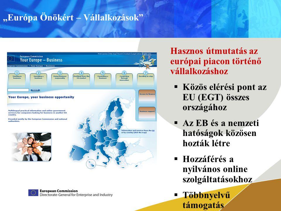 """""""Európa Önökért – Vállalkozások Hasznos útmutatás az európai piacon történő vállalkozáshoz  Közös elérési pont az EU (EGT) összes országához  Az EB és a nemzeti hatóságok közösen hozták létre  Hozzáférés a nyilvános online szolgáltatásokhoz  Többnyelvű támogatás"""