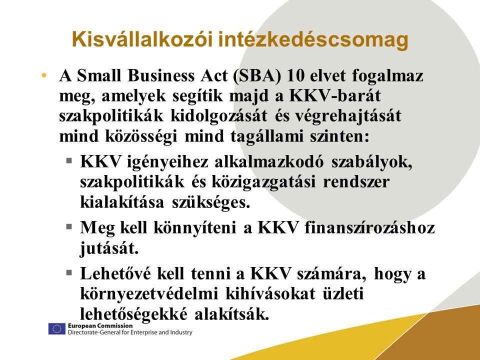 Kisvállalkozói intézkedéscsomag A Small Business Act (SBA) 10 elvet fogalmaz meg, amelyek segítik majd a KKV-barát szakpolitikák kidolgozását és végrehajtását mind közösségi mind tagállami szinten:  KKV igényeihez alkalmazkodó szabályok, szakpolitikák és közigazgatási rendszer kialakítása szükséges.