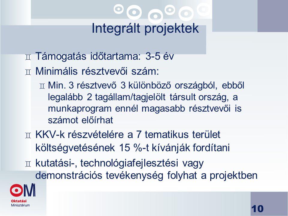 10 Integrált projektek ` Támogatás időtartama: 3-5 év ` Minimális résztvevői szám: ` Min. 3 résztvevő 3 különböző országból, ebből legalább 2 tagállam