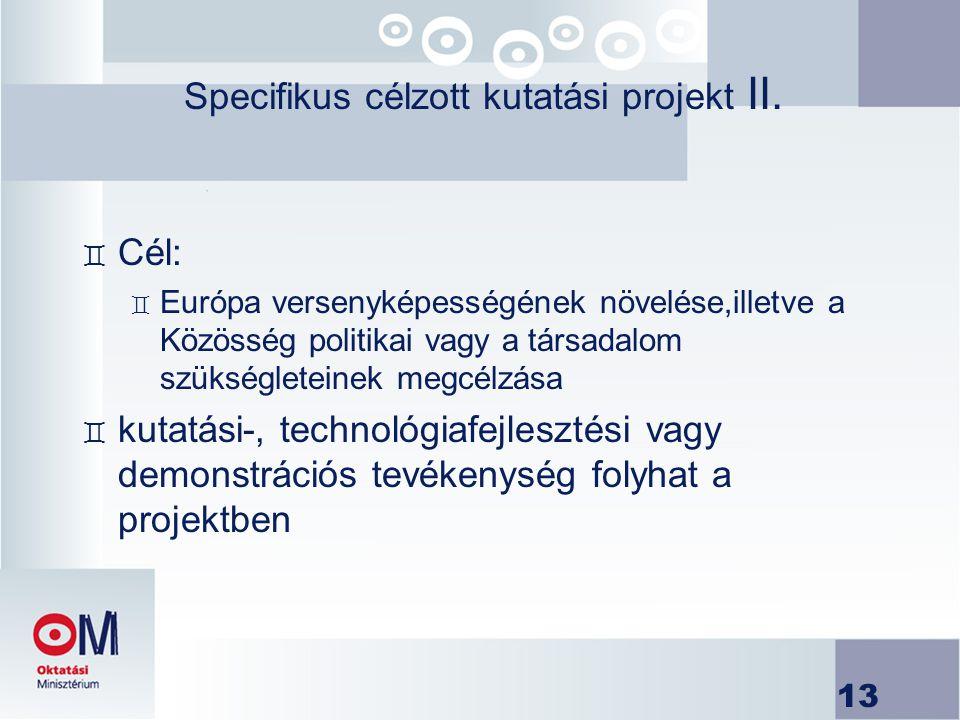 13 Specifikus célzott kutatási projekt II. ` Cél: ` Európa versenyképességének növelése,illetve a Közösség politikai vagy a társadalom szükségleteinek