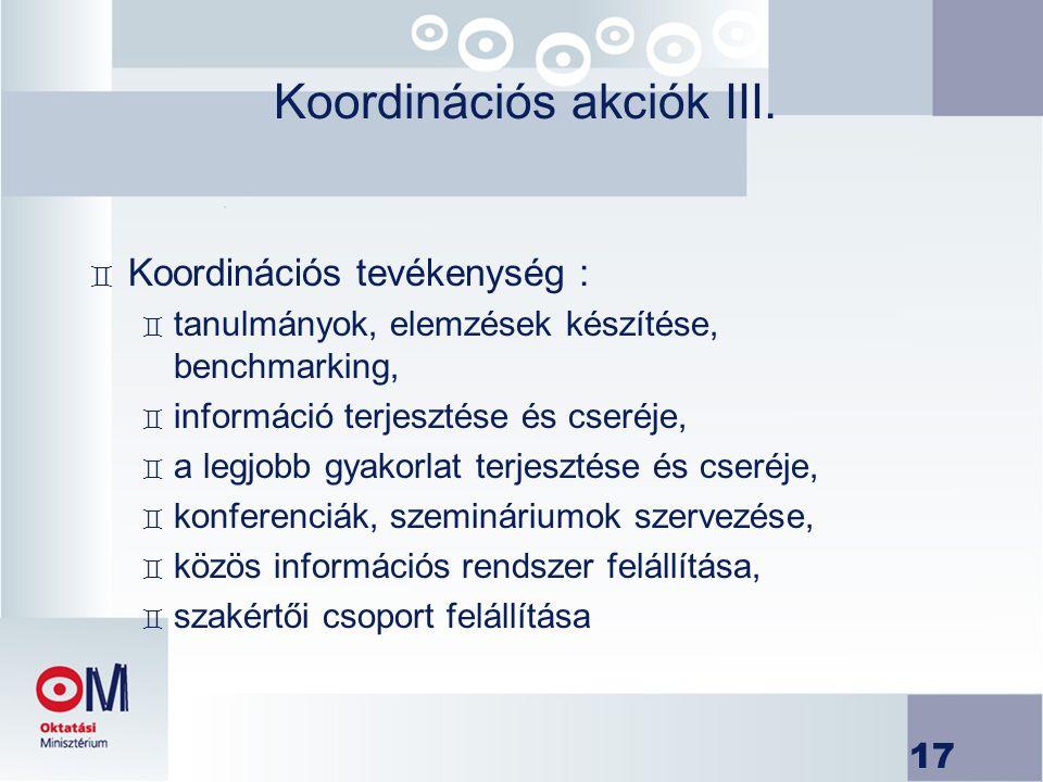 17 Koordinációs akciók III. ` Koordinációs tevékenység : ` tanulmányok, elemzések készítése, benchmarking, ` információ terjesztése és cseréje, ` a le