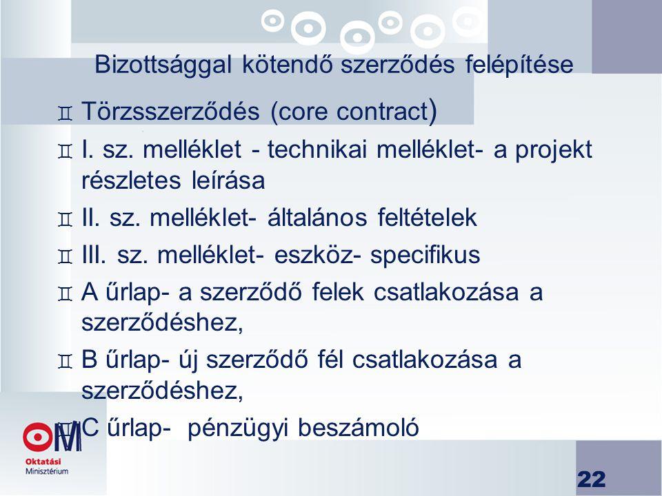 22 Bizottsággal kötendő szerződés felépítése ` Törzsszerződés (core contract ) ` I. sz. melléklet - technikai melléklet- a projekt részletes leírása `