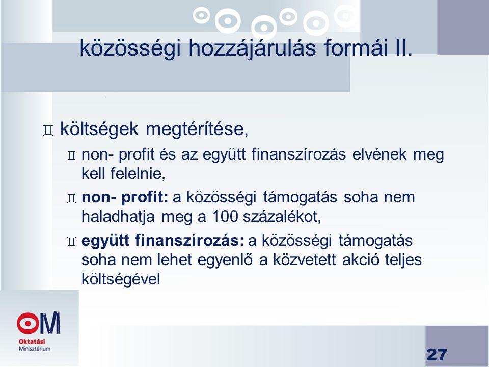 27 közösségi hozzájárulás formái II. ` költségek megtérítése, ` non- profit és az együtt finanszírozás elvének meg kell felelnie, ` non- profit: a köz
