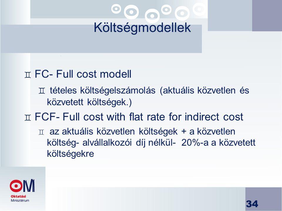 34 Költségmodellek ` FC- Full cost modell ` tételes költségelszámolás (aktuális közvetlen és közvetett költségek.) ` FCF- Full cost with flat rate for