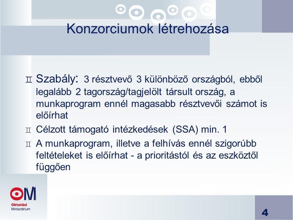 4 Konzorciumok létrehozása ` Szabály : 3 résztvevő 3 különböző országból, ebből legalább 2 tagország/tagjelölt társult ország, a munkaprogram ennél ma
