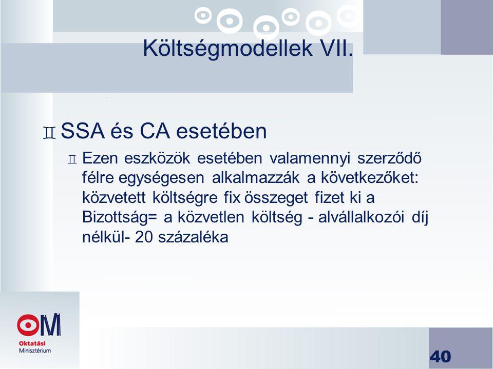 40 Költségmodellek VII. ` SSA és CA esetében ` Ezen eszközök esetében valamennyi szerződő félre egységesen alkalmazzák a következőket: közvetett költs