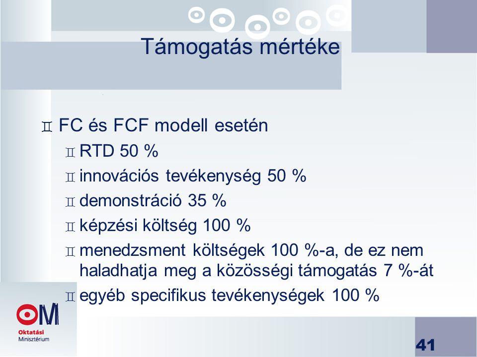 41 Támogatás mértéke ` FC és FCF modell esetén ` RTD 50 % ` innovációs tevékenység 50 % ` demonstráció 35 % ` képzési költség 100 % ` menedzsment költ