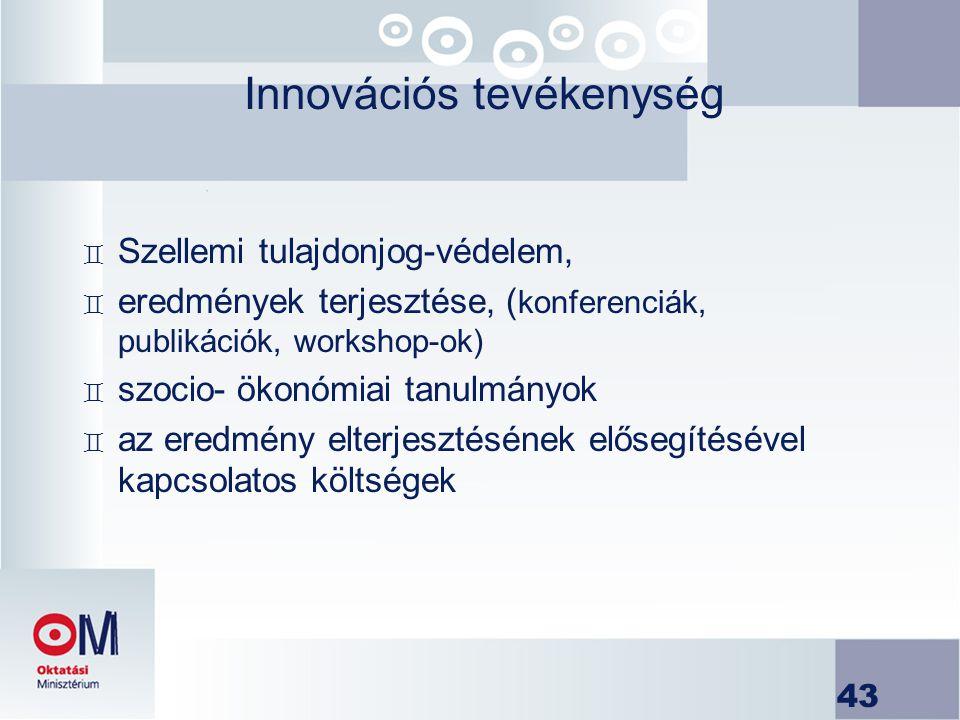 43 Innovációs tevékenység ` Szellemi tulajdonjog-védelem, ` eredmények terjesztése, ( konferenciák, publikációk, workshop-ok) ` szocio- ökonómiai tanu
