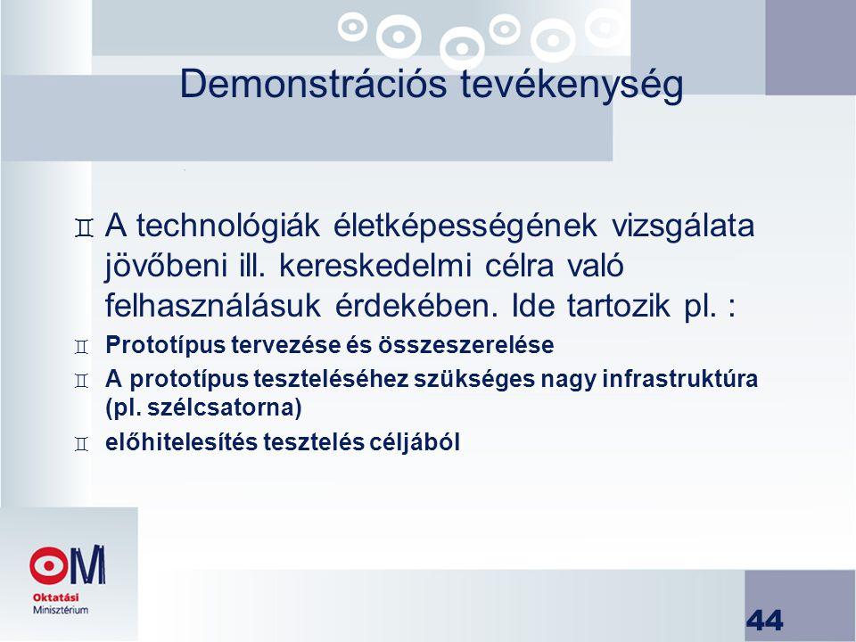 44 Demonstrációs tevékenység ` A technológiák életképességének vizsgálata jövőbeni ill. kereskedelmi célra való felhasználásuk érdekében. Ide tartozik