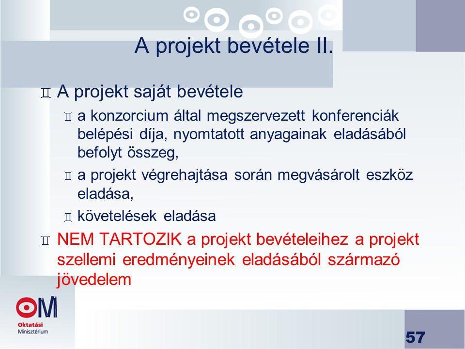 57 A projekt bevétele II. ` A projekt saját bevétele ` a konzorcium által megszervezett konferenciák belépési díja, nyomtatott anyagainak eladásából b