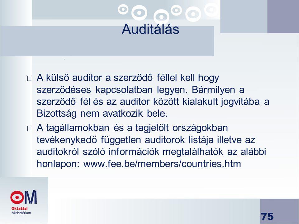 75 Auditálás ` A külső auditor a szerződő féllel kell hogy szerződéses kapcsolatban legyen. Bármilyen a szerződő fél és az auditor között kialakult jo
