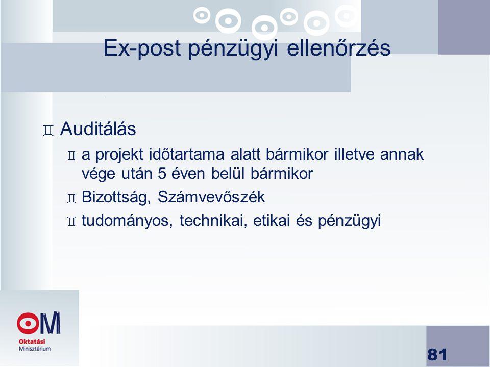 81 Ex-post pénzügyi ellenőrzés ` Auditálás ` a projekt időtartama alatt bármikor illetve annak vége után 5 éven belül bármikor ` Bizottság, Számvevősz