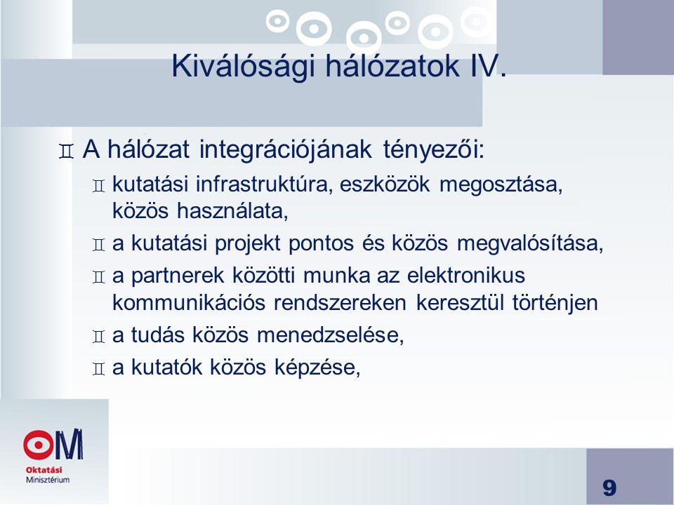 9 Kiválósági hálózatok IV. ` A hálózat integrációjának tényezői: ` kutatási infrastruktúra, eszközök megosztása, közös használata, ` a kutatási projek