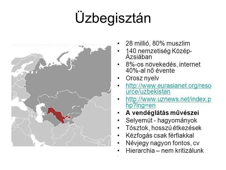 28 millió, 80% muszlim 140 nemzetiség Közép- Ázsiában 8%-os növekedés, internet 40%-al nő évente Orosz nyelv http://www.eurasianet.org/reso urce/uzbekistanhttp://www.eurasianet.org/reso urce/uzbekistan http://www.uznews.net/index.p hp?lng=enhttp://www.uznews.net/index.p hp?lng=en A vendéglátás művészei Selyemút - hagyományok Tósztok, hosszú étkezések Kézfogás csak férfiakkal Névjegy nagyon fontos, cv Hierarchia – nem kritizálunk.