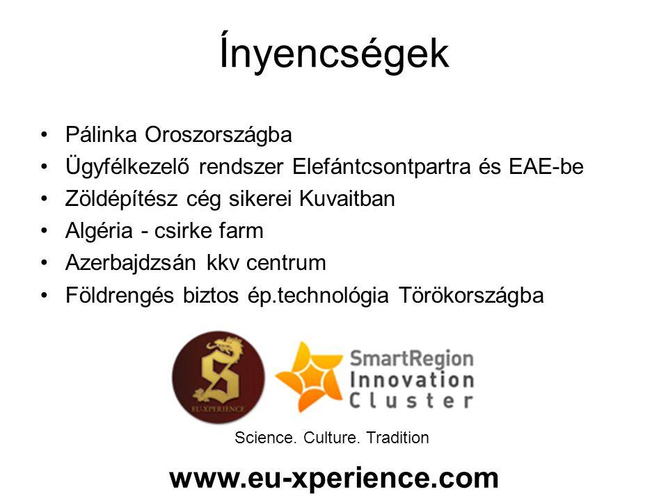 Pálinka Oroszországba Ügyfélkezelő rendszer Elefántcsontpartra és EAE-be Zöldépítész cég sikerei Kuvaitban Algéria - csirke farm Azerbajdzsán kkv centrum Földrengés biztos ép.technológia Törökországba Ínyencségek Science.