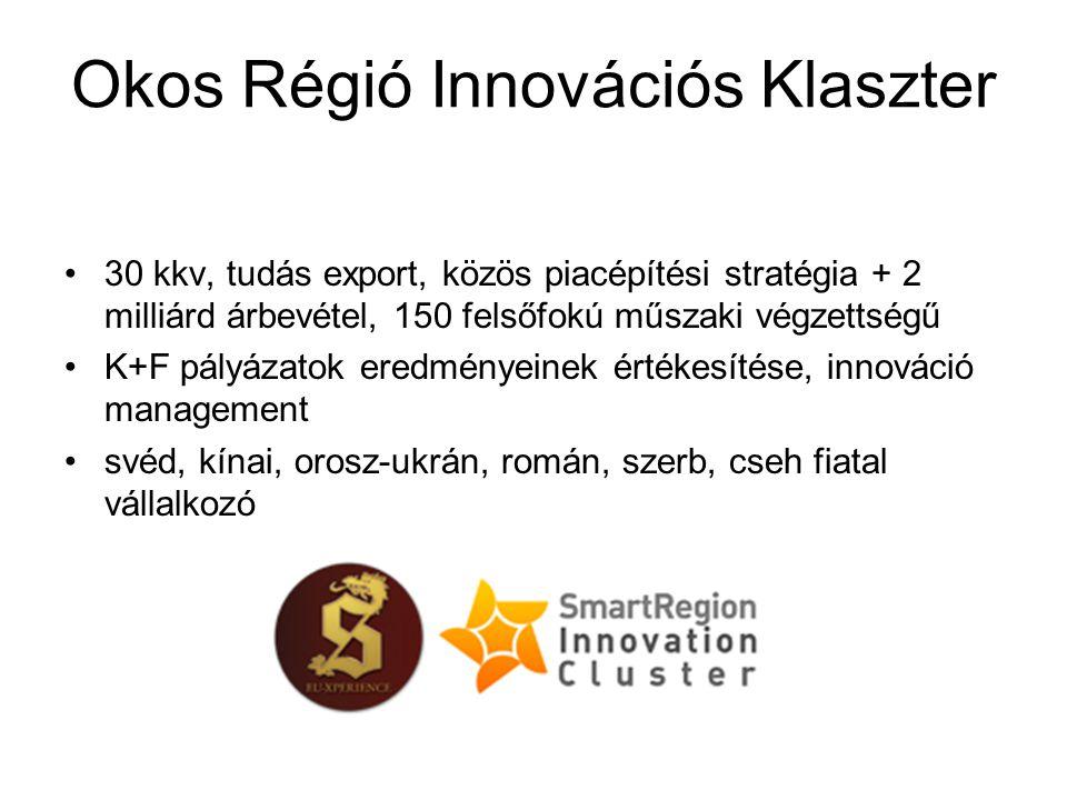 30 kkv, tudás export, közös piacépítési stratégia + 2 milliárd árbevétel, 150 felsőfokú műszaki végzettségű K+F pályázatok eredményeinek értékesítése, innováció management svéd, kínai, orosz-ukrán, román, szerb, cseh fiatal vállalkozó Okos Régió Innovációs Klaszter