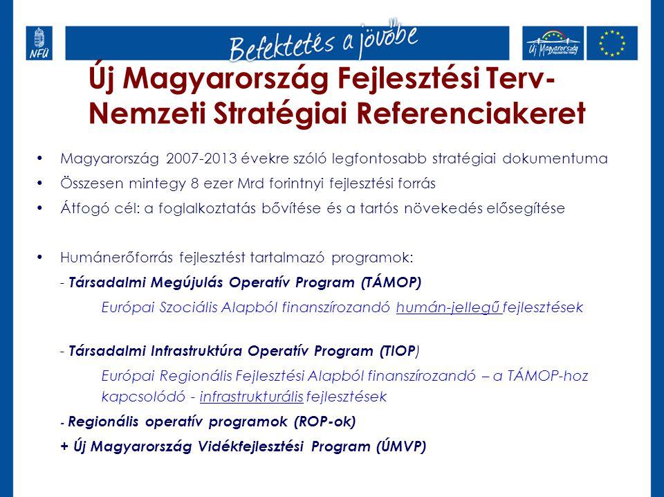 Új Magyarország Fejlesztési Terv- Nemzeti Stratégiai Referenciakeret Magyarország 2007-2013 évekre szóló legfontosabb stratégiai dokumentuma Összesen mintegy 8 ezer Mrd forintnyi fejlesztési forrás Átfogó cél: a foglalkoztatás bővítése és a tartós növekedés elősegítése Humánerőforrás fejlesztést tartalmazó programok: - Társadalmi Megújulás Operatív Program (TÁMOP) Európai Szociális Alapból finanszírozandó humán-jellegű fejlesztések - Társadalmi Infrastruktúra Operatív Program (TIOP ) Európai Regionális Fejlesztési Alapból finanszírozandó – a TÁMOP-hoz kapcsolódó - infrastrukturális fejlesztések - Regionális operatív programok (ROP-ok) + Új Magyarország Vidékfejlesztési Program (ÚMVP)