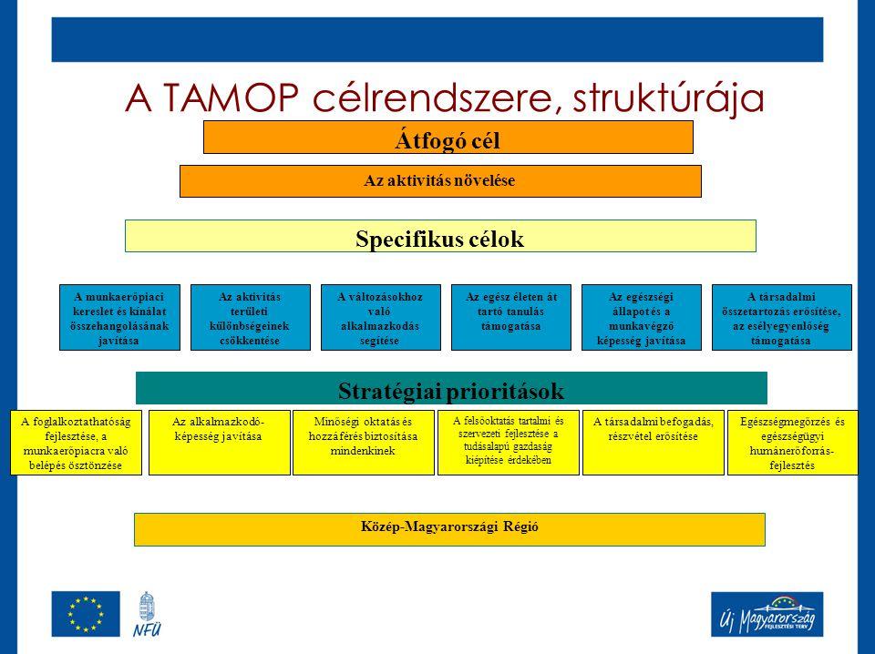 A TAMOP célrendszere, struktúrája Specifikus célok Az aktivitás növelése A munkaerőpiaci kereslet és kínálat összehangolásának javítása Az aktivitás területi különbségeinek csökkentése A változásokhoz való alkalmazkodás segítése Az egész életen át tartó tanulás támogatása Az egészségi állapot és a munkavégző képesség javítása A társadalmi összetartozás erősítése, az esélyegyenlőség támogatása Stratégiai prioritások A foglalkoztathatóság fejlesztése, a munkaerőpiacra való belépés ösztönzése Az alkalmazkodó- képesség javítása Minőségi oktatás és hozzáférés biztosítása mindenkinek A felsőoktatás tartalmi és szervezeti fejlesztése a tudásalapú gazdaság kiépítése érdekében A társadalmi befogadás, részvétel erősítése Közép-Magyarországi Régió Átfogó cél Egészségmegőrzés és egészségügyi humánerőforrás- fejlesztés