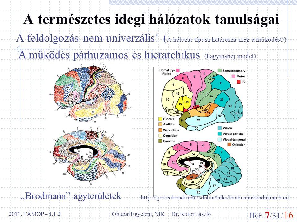 IRE 7 /31/ 16 Óbudai Egyetem, NIK Dr. Kutor László2011.