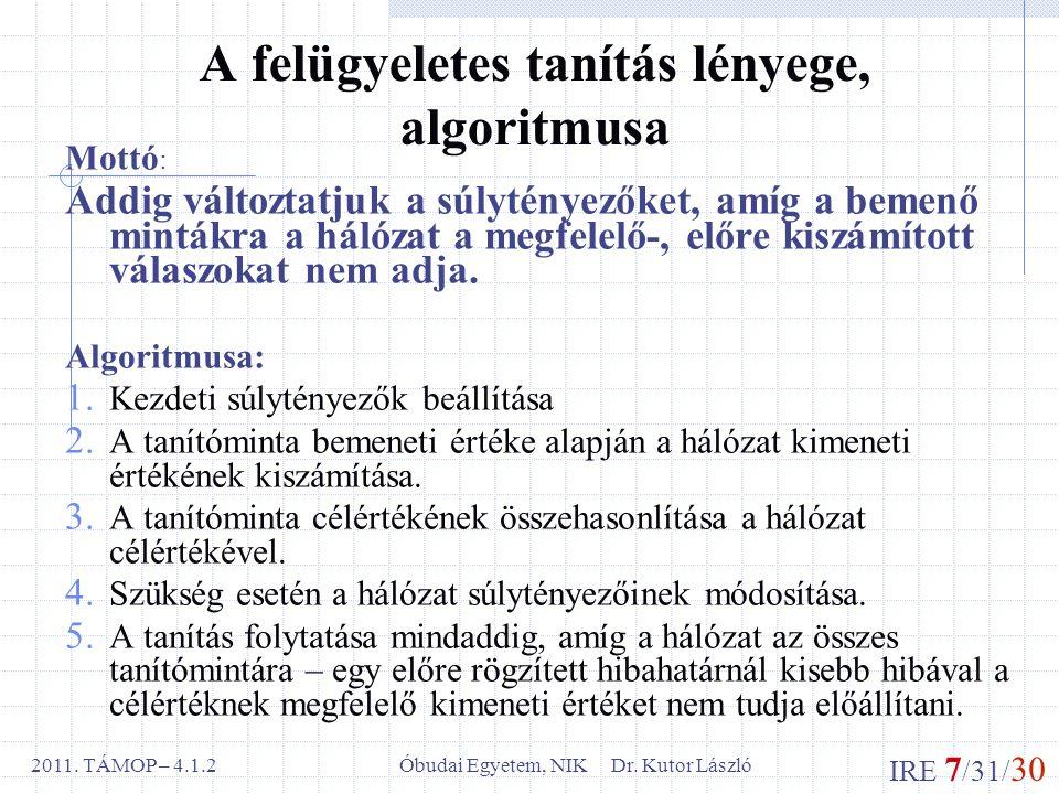 IRE 7 /31/ 30 Óbudai Egyetem, NIK Dr. Kutor László2011.