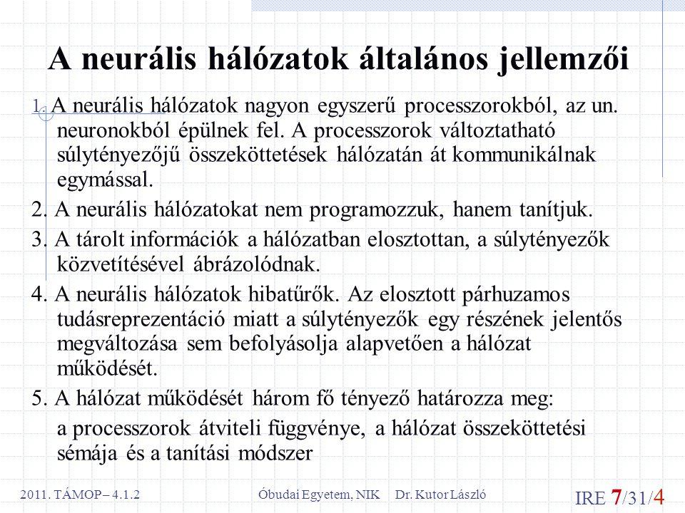 IRE 7 /31/ 4 Óbudai Egyetem, NIK Dr. Kutor László2011.