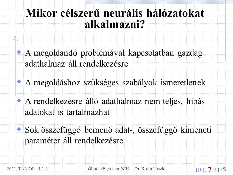 IRE 7 /31/ 5 Óbudai Egyetem, NIK Dr. Kutor László2011.