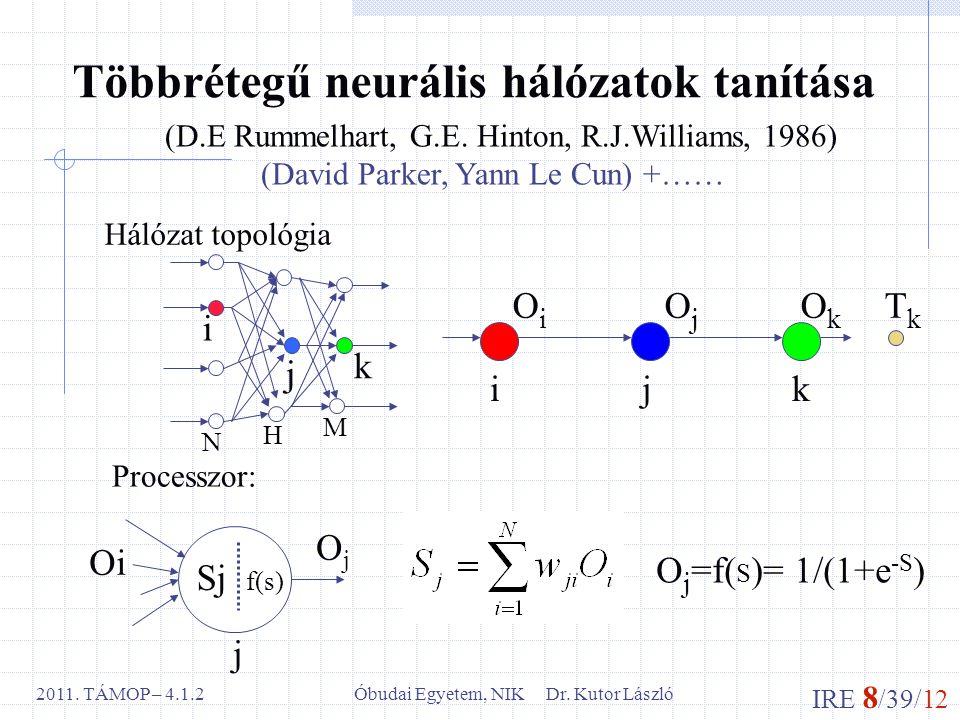 IRE 8 /39/12 Óbudai Egyetem, NIK Dr. Kutor László2011. TÁMOP – 4.1.2 Többrétegű neurális hálózatok tanítása (D.E Rummelhart, G.E. Hinton, R.J.Williams