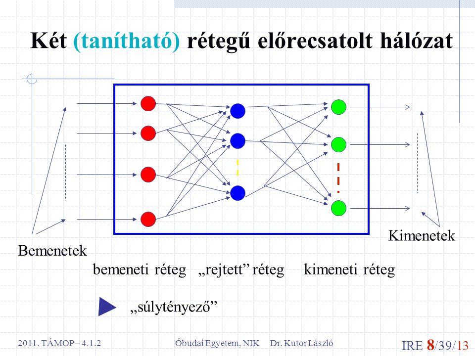 """IRE 8 /39/13 Óbudai Egyetem, NIK Dr. Kutor László2011. TÁMOP – 4.1.2 Két (tanítható) rétegű előrecsatolt hálózat bemeneti réteg """"rejtett"""" réteg kimene"""